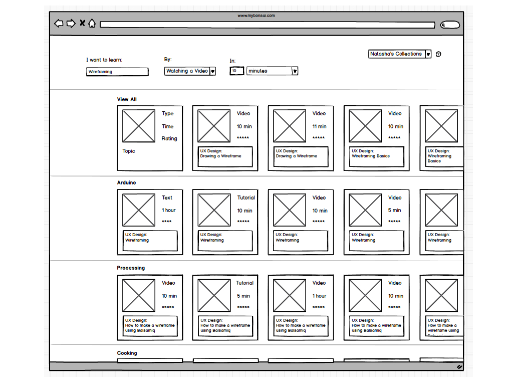 a wireframe prototype