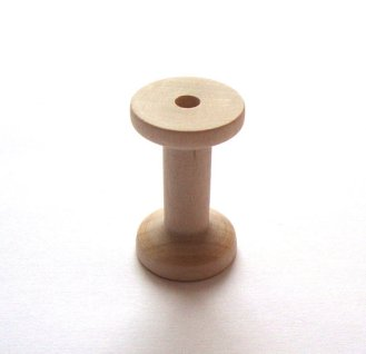 Wooden Spool for Earbud Wrap.